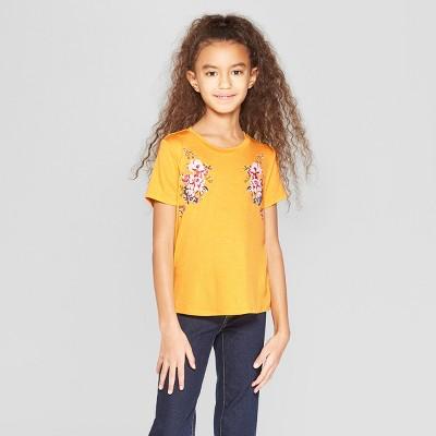 Girls' Floral Print Short Sleeve T-Shirt - art class™ Gold