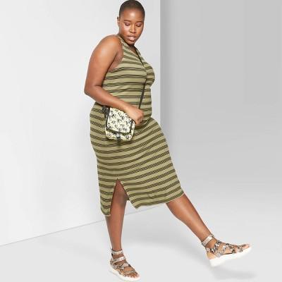 Women's Plus Size Striped Sleeveless Round Neck Knit Tank Midi Dress - Wild Fable™ Olive