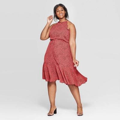 Women's Plus Size Leopard Print Short Sleeve Halter Neck Dress - Who What Wear™ Red