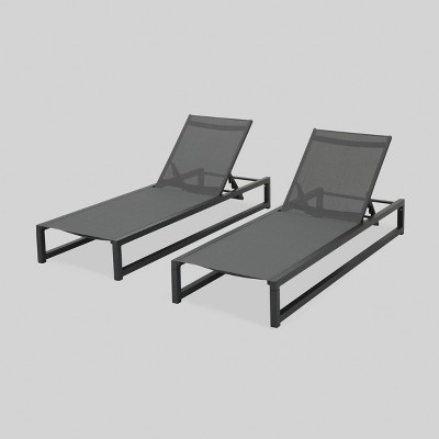 modesta 2pk aluminum outdoor patio chaise lounge black christopher knight home
