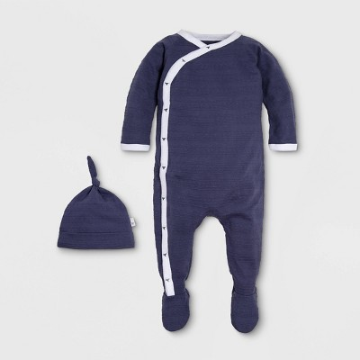 Burt's Bees Baby® Baby Boys' Organic Cotton Jacquard Stripe Kimono Coverall with a Hat Pajama Jumpsuit - Navy