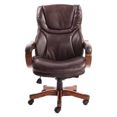 wood and leather executive office chairs chair in steel reinforcement big tall with upgraded accents serta