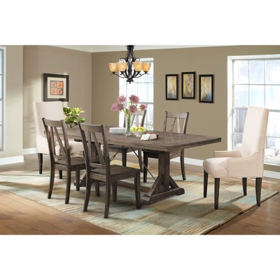 parson chairs nufish fishing chair flynn 7pc dining set table 4 wooden side and 2 walnut brown cream picket house furnishings