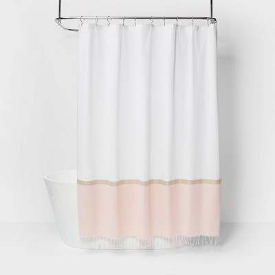 colorblock woven shower curtain light gold project 62