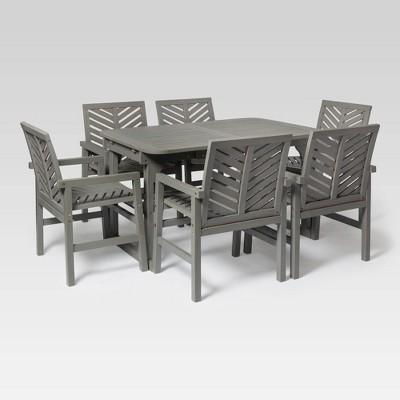 7pc extendable outdoor patio dining set gray wash saracina home