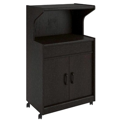 cumberland microwave cart with shelf espresso room and joy