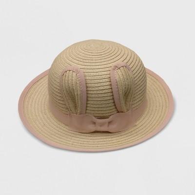 Baby Girls' Gender Inclusive Critter Floppy Hats - Cat & Jack™ Beige/Pink