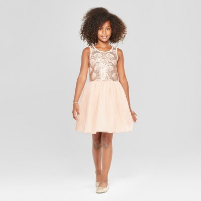Girls' Sequin Top and Tulle Skirt Dressy Dress - Cat & Jack™ Pink