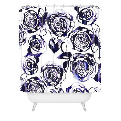 Inky Roses Shower Curtain Blue - Deny Designs