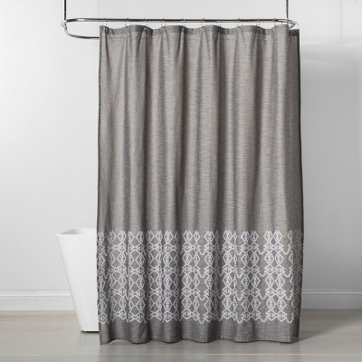 Embroidered Shower Curtain Gray - Threshold™