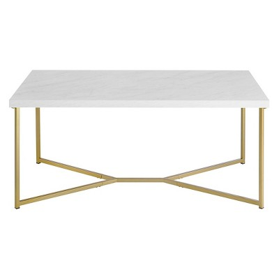 glam mid century modern y leg rectangle coffee table faux white marble gold saracina home