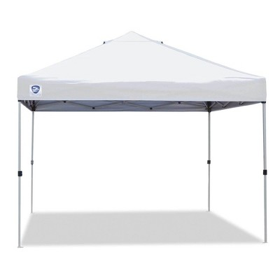 z shade 10 x 10 foot peak straight leg portable instant shade tent outdoor canopy with reliable stakes steel frame and carrying bag white
