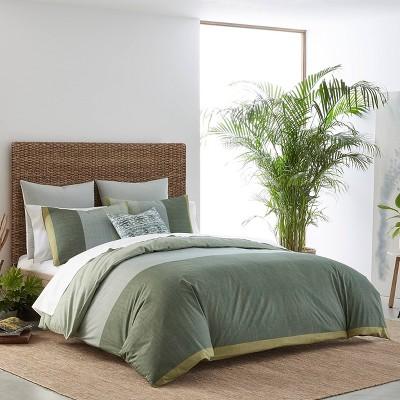 full queen izi chambray color block print comforter set green