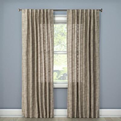 84 x54 textured weave back tab window curtain panel light gray threshold