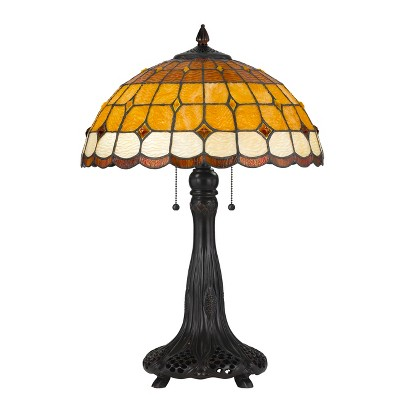 60W X 2 Tiffany Table Lamp Mustard Yellow (Lamp Only) - Cal Lighting