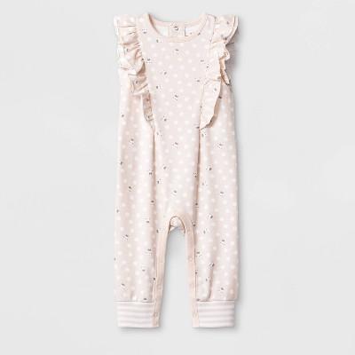 Baby Girls' Sleeveless Ruffle Bunny Long Romper - Cat & Jack™ Peach