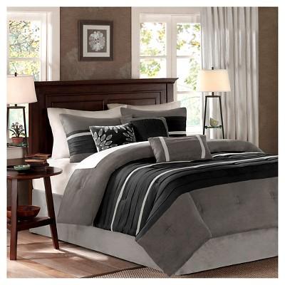 black gray dakota microsuede comforter set queen 7pc 7pc