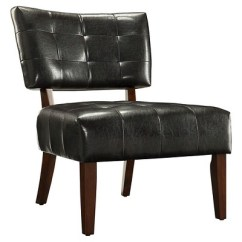 Leather Accent Chairs For Living Room Designing My Elizabeth Armless Faux Chair Dark Brown Inspire Q Target