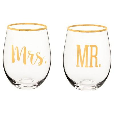 "2ct ""Mr. & Mrs."" Gold Rim Stemless Wine Glasses"
