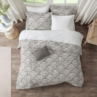 King 9pc Katti Reversible Complete Bedding Set Gray