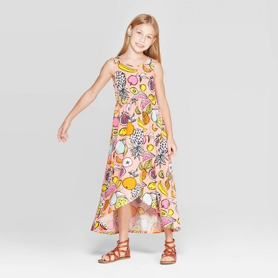 Girls' Knit Fruit Print Maxi Dress - Cat & Jack™ Peach