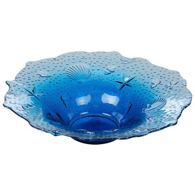 32oz Glass Natural Coast Shell Bowl Blue - Certified International