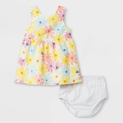 Baby Girls' Floral Poplin Dress - Cat & Jack™ Yellow