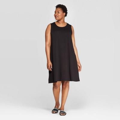 Women's Plus Size Sleeveless Crewneck Knit A-Line Dress - Ava & Viv™
