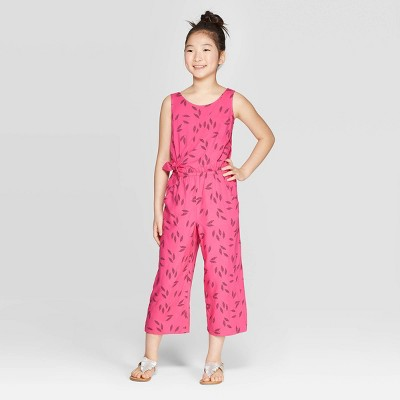 Girls' Tie Waist Jumpsuit - Cat & Jack™ Pink