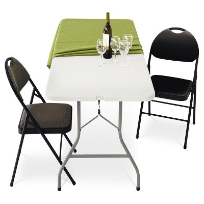 white plastic chairs leather camp chair 6 folding banquet table off dev group target