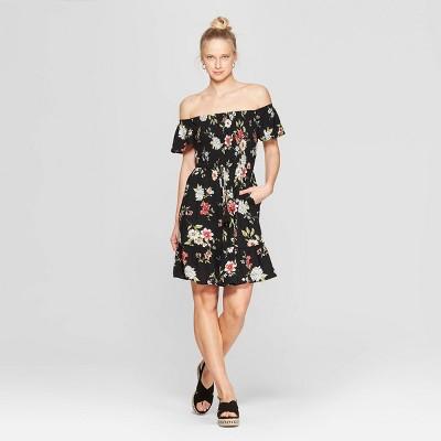 Women's Floral Print Short Sleeve Off The Shoulder Smocked Top Dress - Xhilaration™ Mauve