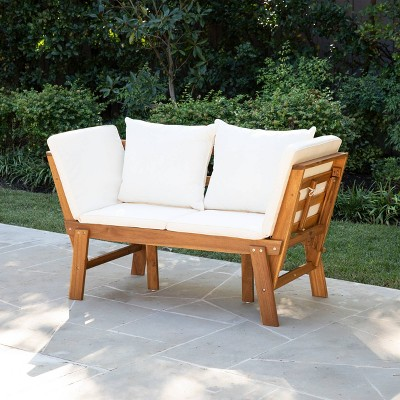 dolavan indoor outdoor convertible lounge chair bench natural and white holly martin