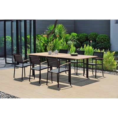 veronica 7pc teak finish aluminum rectangular extendable patio dining set black amazonia