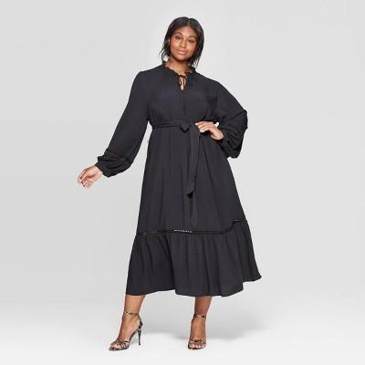 Women's Plus Size V-Neck Full Sleeve Trim Maxi Dress - Who What Wear™
