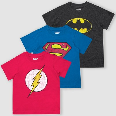Toddler Boys' Warner Bros. DC Comics Heroes 3pk Short Sleeve T-Shirts - Gray/Pink/Blue