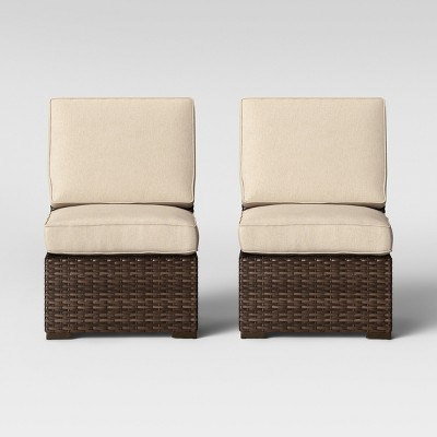 halsted 2pk armless patio sectional chairs tan threshold