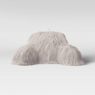 faux fur bed rest pillow gray opalhouse
