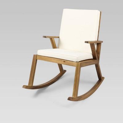 champlain acacia wood patio rocking chair teak cream christopher knight home