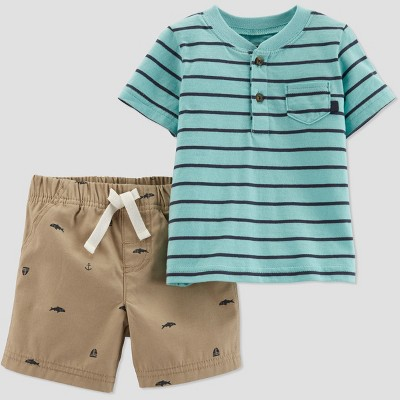 Toddler Boys' 2pc Striped Shorts Set - Just One You® made by carter's Blue/Biege