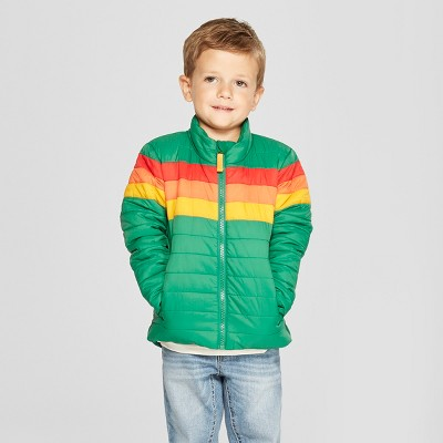 Toddler Boys' Rainbow Midweight Puffer Jacket - Cat & Jack™ Green