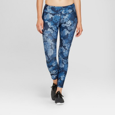 "Women's Performance Floral Print Mid-Rise Crop Leggings 23"" - JoyLab™ Denim Blue"