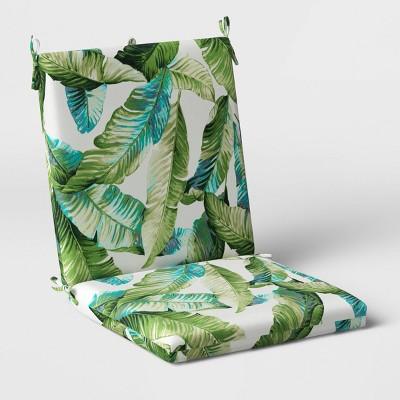 vacation tropical outdoor chair cushion duraseason fabric green threshold