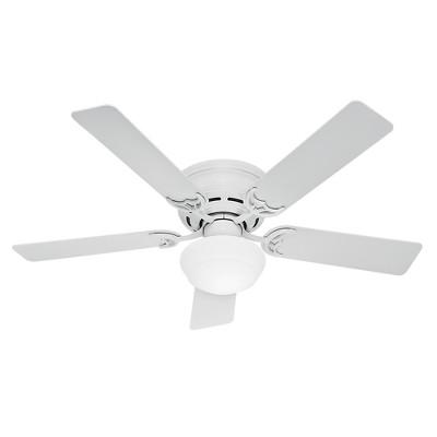 """52"""" Low Profile III Plus White Ceiling Fan with Light - Hunter Fan"""