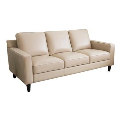 olivia top grain leather sofa cream abbyson living