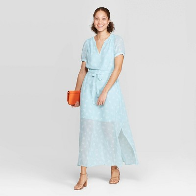Women's Floral Print Casual Fit Cap Sleeve Deep V-Neck Chiffon Maxi Dress - A New Day™ Turquoise