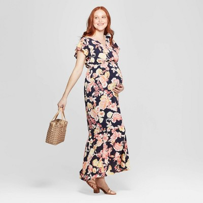 Maternity Floral Print Flutter Sleeve Maxi Dress - Isabel Maternity by Ingrid & Isabel™ Navy