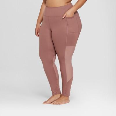 Women's Plus Size  Comfort 7/8 Mesh Panel High-Waisted Leggings - JoyLab™