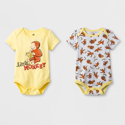 Baby Boys' 2pk Universal Curious George Short Sleeve Body Suit - Yellow/Gray