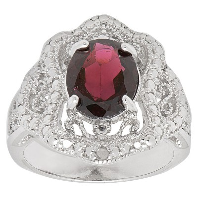 0.01 CT. T.W. Accent Diamond and 2.5 CT. T.W. Garnet Cocktail Ring