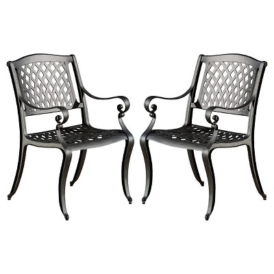 hallandale set of 2 cast aluminum patio chairs black sand christopher knight home
